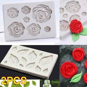 2Pcs Rose Leave Silicone Fondant Mould Cake Sugarcraft Flower Decorating Mold 3D