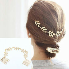 Women Leaf Style Gold Plated Hair Pin Headband Wedding Party Accessories Decor