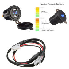 Car Motorcycle 12V 4.2A 2 USB Charger Socket Blue LED Light Voltmeter With Cable