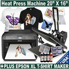 "HEAT PRESS 20""X16"" TRANSFER T-SHIRT SUBLIMATION STARTER PACK PLUS PRINTER XL"