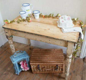Antique Victorian RUSTIC Pine Cream Farmhouse Shabby Chic Scrub Top Table Des