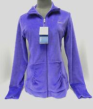 "NWT ""Reebok"" Jacket Dark Purple Full Front Zip Velour Athletic Track Team Size M"