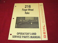 Gehl 216 Finger Wheel Rakes Dealers Parts Book Amp Operators Manual