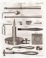 1797 GEORGIAN PRINT ~ BLOW PIPE ~ APPARATUS HEATING MIXING METAL ALLOYS etc