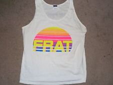 VINTAGE FRAT FRATERNITY MEN'S TANK TOP BEACH SHIRT WHITE MEDIUM USED COTTON