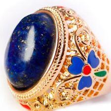 Elegant Retro Style Cloisonne Enamel Peony lapis lazuli Yellow Gold Plated Ring
