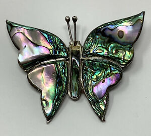 """Mexico Sterling Silver Abalone Shell Butterfly Brooch 2 3/16"""" X 1 3/4"""" (7.8 g.)"""