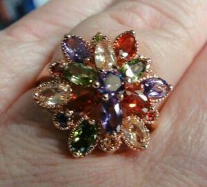Ring, Silber, rotvergoldet, mit echten Edelsteinen, Gr.19
