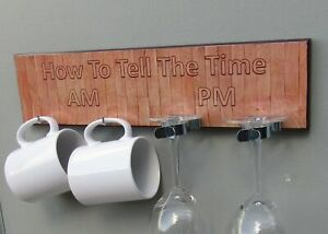 How To Tell The Time Am & PM Mug and Glasses With Oak Print