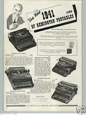 1941 PAPER AD 2 Sided Underwood Remington Portable Typewriter Deluxe Quiet Champ