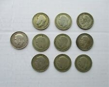 More details for 10 george v silver one florin / two shilling coins - various years and condition