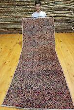 """Primitive Antique 1930-1940s Wool Pile 2'10""""×7'10"""" Rose  Dyes Runner Rug"""