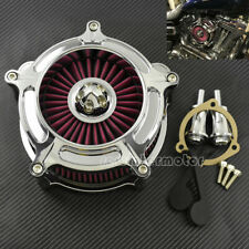 Chrome Air Cleaner Red Intake Filter Fit For Harley Softail 93-15 Touring 93-07