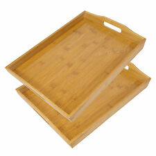 Set of 2 Bamboo Wooden Serving Trays with Handles TV Dinner Breakfast Bed Lap
