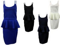 Womens Ladies Celebrity Peplum Cutout Frill Bodycon Sleeveless Party Dress