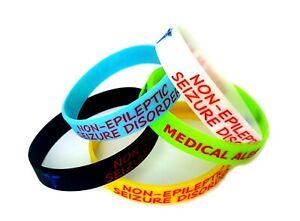 5x SEIZURE disorder non epileptic epilepsy Wristband MEDICAL AWARENESS ALERT NEW