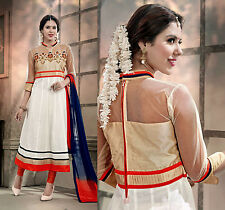 OFF-WHITE DESIGNER ANARKALI COTTON SALWAR KAMEEZ SUIT DRESS MATERIAL LADIES DEN