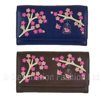 NEW Mala Leather Saki Flowers + Birdcage Ladies Large Tri Fold Purse / Wallet