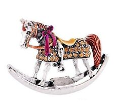 Rocking Horse with Bow Fashion Brooch Pin with Rhinestones, Amber color