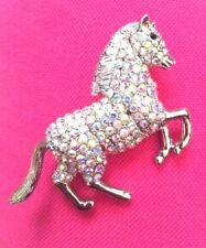 """Horse Crystal AB Rhinestone Aurora Borealis Brooch Silver Setting Pin Derby 2.5"""""""