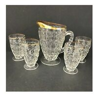 Jeanette Thumbprint Pitcher & Juice Glass Set of 5 22k Gold Rim Vintage Preowned