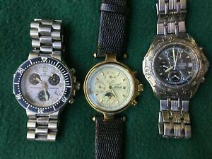 3 Vintage Chronograph Watches  Festina, Stauer Automatic  Burett