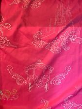 VTG Disney Princess Twin Fitted Sheet Pink White Castle Carriage Polyester