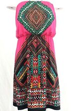Bongo  Dress Medium Tribal Aztec Pink Strapless Stretch Geometric Multi Women