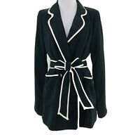 Line + Dot Women's Black Tied Waist Long Sleeve Blazer Jacket Size Large NEW