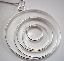 Multi Circles Necklace 925 Sterling Silver Corona Sun Jewelry