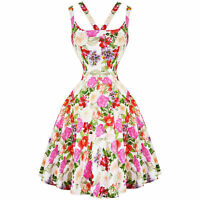 Hearts & Roses London Pink Rose Floral Retro 1950s Flared Party Tea Summer Dress