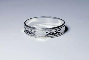 Solid 10K White Gold MEN'S Wedding Band Ring Size 10/ Anillo de Oro
