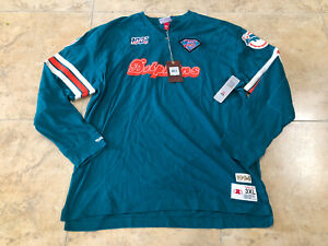 Mitchell & Ness NFL Dolphins Throwback Long Sleeves Shirt Men's Sizes