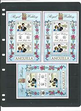 Three very attractive sheetlets from Anguilla 1981 Royal Wedding.   MNH