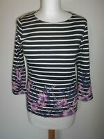 MAINE New England Ladies T shirt Top Size 10 Navy/white Stripe Pink Floral New