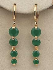"18K Yellow Gold Filled 1.65"" Earrings Emerald Topaz Bead Chain Drop Stud Party"