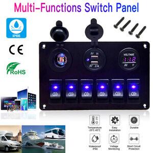 6 Gang Marine Toggle Switch Panel Boat Car Circuit Waterproof 12V Waterproof LED