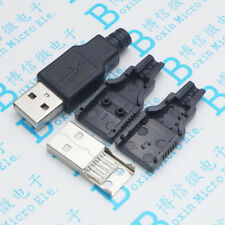 10pcs A public wire-type male USB type A male three-piece plastic shell seat 4P4
