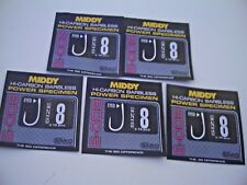 50 x Middy E-003 Barbless Power Specimen Eyed Hooks. Size 8 .For All Big Fish.