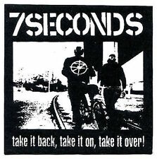 7 SECONDS take it back/take it on/take it over CLOTH PATCH sew-on punk 7seconds