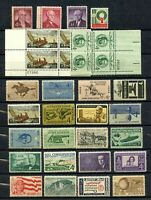 SET OF 32 FOUR CENT STAMPS - 24 SINGLE STAMPS & TWO PLAYE BLOCKS - VF - OG - MNH