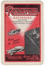 Playing Cards 1 Swap Card Old Vintage Advertising RADENITE BATTERIES Car Auto AD