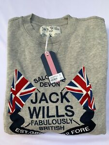 Jack Wills Mens Crew Neck Jumper Sweater Pullover Classic Grey SIZE M BNWT