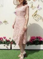 REISS Ivana Lace Asymmetric Dress - Pale Pink (UK 10) RRP-£235