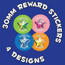 144 x 'Superstar' 30mm Children Reward Stickers - For School Teachers Or Parents