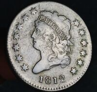 1812 Classic Head Bust Large Cent 1C S290 Small Date Good US Copper Coin CC6631