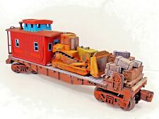 O LIONEL FLAT CAR WORK CAR BULLDOZER CUSTOM LOAD TRAIN CRATES BOXES CONSTRUCTION