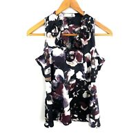 Ann Taylor Womens Sleeveless Floral Blouse Size 6 Ruffle V Neck Black Burgundy