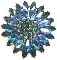 WEISS Green & Blue AB Rhinestone Flower Vintage Pin