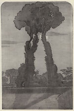 I tre nella notte gli accumuli wittenham (?), RARA Paul Nash stampa vintage 1948